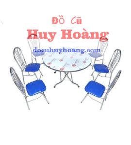 bàn ghế inox mặt đệm xanh