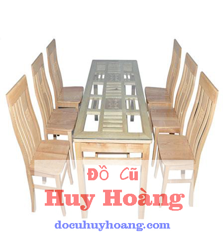 thanh lý bàn ghế gỗ sồi 6 ghế