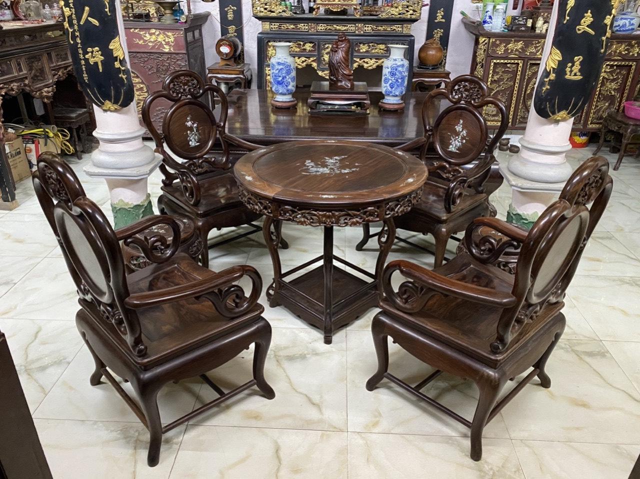 thu mua bàn tròn gỗ trắc cũ