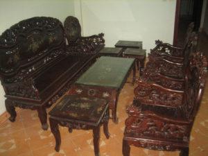 thanh lý bộ bàn ghế gỗ cổ lâu năm