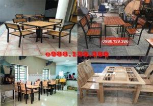 bàn ghế chân sắt mặt gỗ quán lẩu